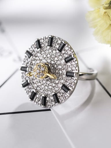 NEW NEW Rotating Ring Full Zricon Dial Rotating Free Size Ring