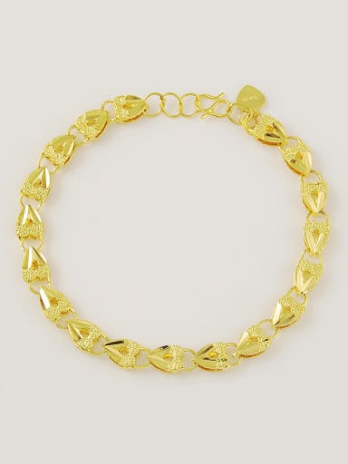 Women Heart Shaped Gold Plated Frosted Bracelet