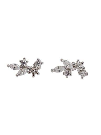 Simple Tiny Leaves White Zirconias Silver Stud Earrings