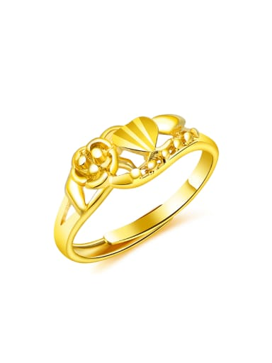 24K Gold Plated Flowery Opening Ring