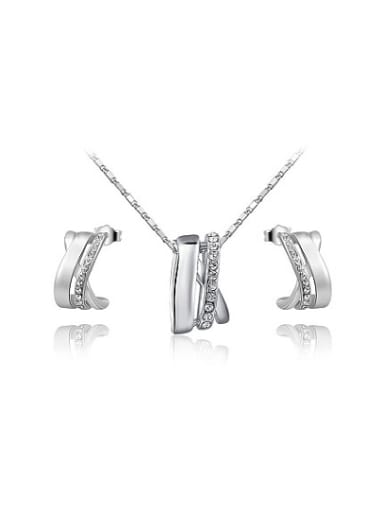 Delicate Platinum Plated Geometric Shaped Austria Crystal Two Pieces Jewelry