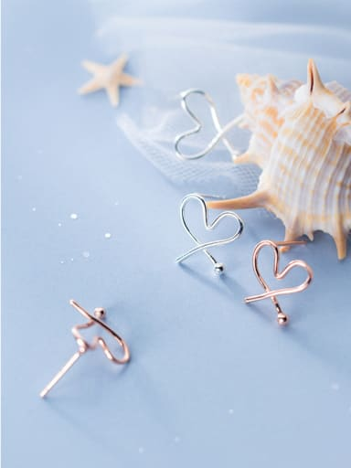 925 Sterling Silver With Silver Plated Simplistic Heart Stud Earrings