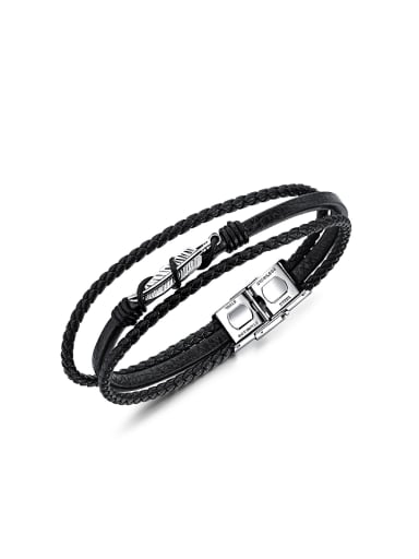 Fashion Little Feather Artificial Leather Woven Bracelet
