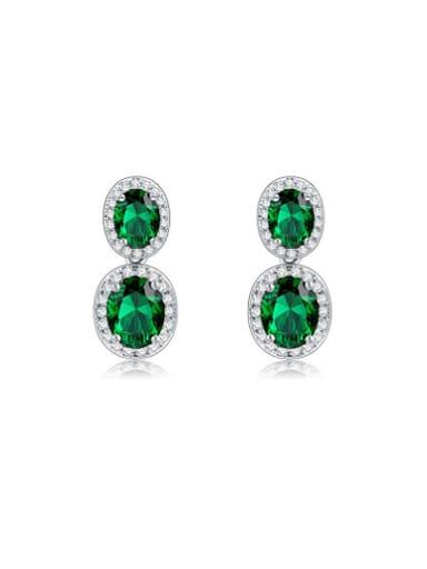 Green Oval Shaped AAA Zircon Drop Earrings
