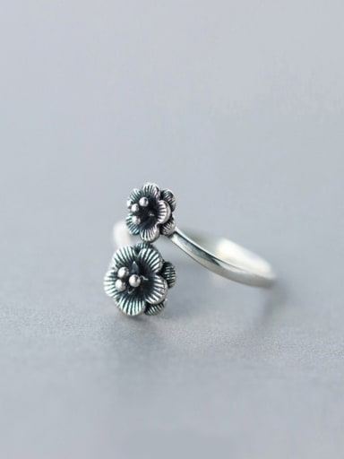 S925 Silver  retro double flowers opening Cocktail Ring