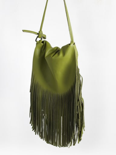 New wild yak First layer cowhide  retro tassel Crossbody bag