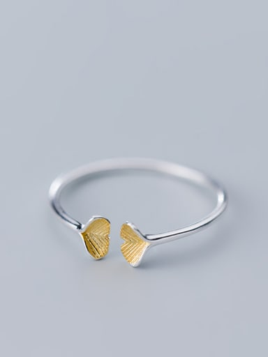 925 Sterling Silver With Silver Plated Simplistic Apricot Leaf Free Size Rings