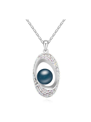 Fashion Imitation Pearl Tiny Crystals Oval Pendant Alloy Necklace