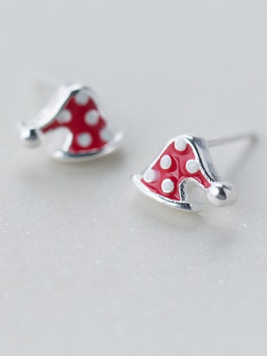 925 Sterling Silver With Platinum Plated Cute Christmas Hat Stud Earrings
