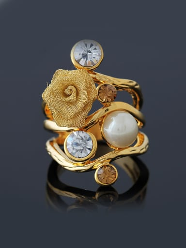 Classical Noble style Artificial Pearl Cubic Rhinestones Flowery Alloy Ring