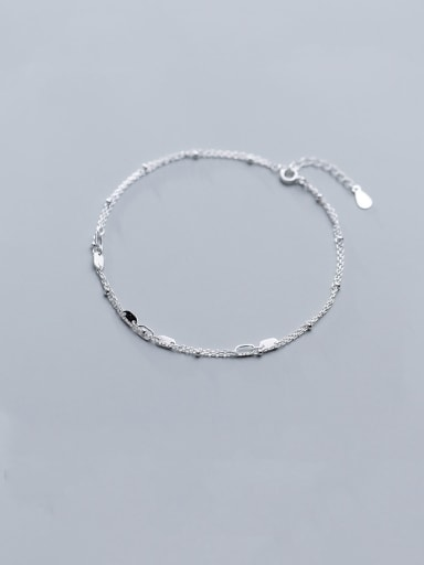 925 Sterling Silver With Platinum Plated Elliptical Hollow Double-Layer Trend Anklet