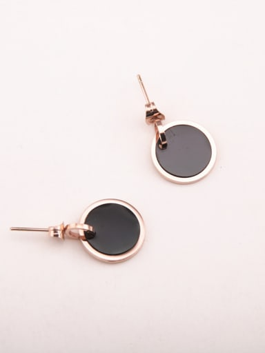 Titanium With Rose Gold Plated Simplistic Round Stud Earrings