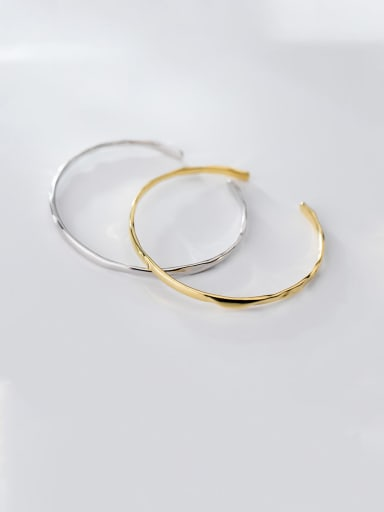925 Sterling Silver With Smooth Simplistic Round Free Size Bangles