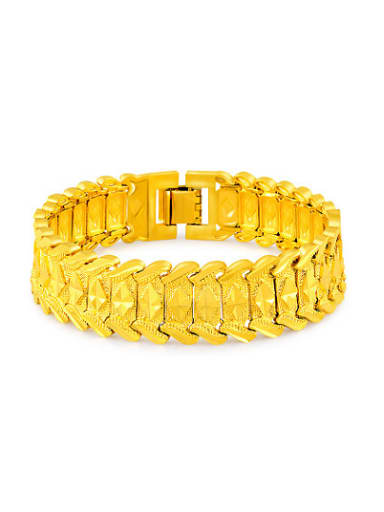 Luxury 24K Gold Plated Geometric Shaped Copper Bracelet