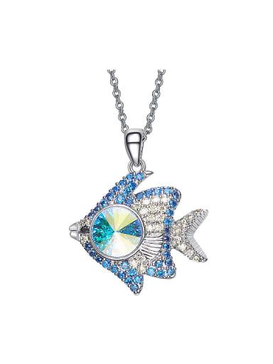 Fashion Swarovski Crystal Zirconias Fish Necklace