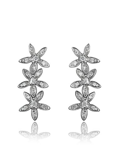 Exquisite 18K Gold Plated Flower Zircon Drop Earrings