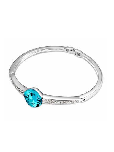 Simple Oval Swarovski Crystal Platinum Plated Alloy Bangle
