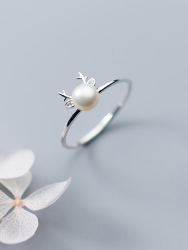 Trendy Open Design Deer Shaped Artificial Pearl S925 Silver Ring