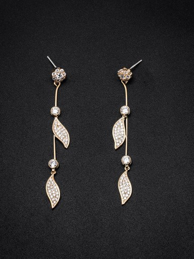 Copper With Cubic Zirconia  Simplistic Leaf  Long pendant Drop Earrings
