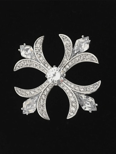 Classical Cross White Zircon-covered Copper Brooch