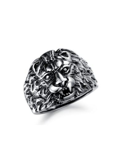 Punk style Exaggerated Lion Head Titanium Men Ring