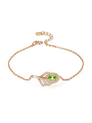 Micro Pave Zircons Leave-shape Rose Gold Plated Bracelet