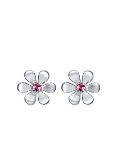 Simple Pink Zircon Stud Earrings