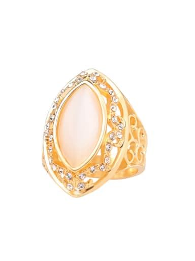 Retro style Noble Oval Opal Stone Hollow Alloy Ring