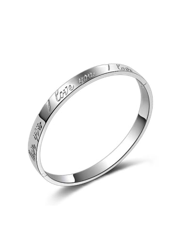 Fashion I LOVE YOU Silver Plated Copper Bangle