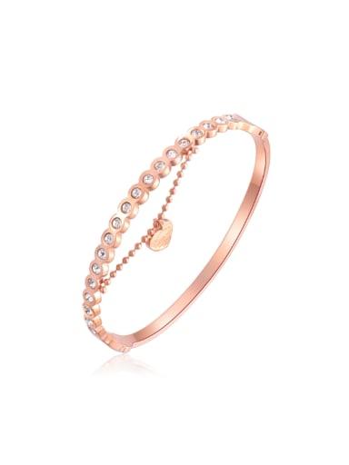 Fashion Rose Gold Plated Rhinestones Titanium Bangle