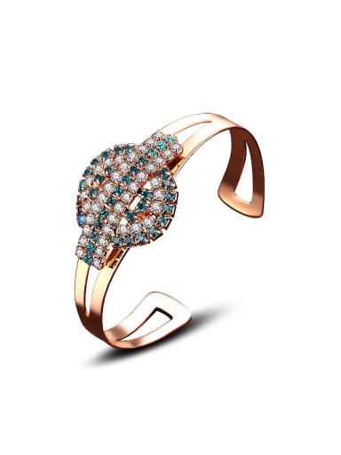 Fashion Shiny Cubic Zirconias Copper Opening Bangle