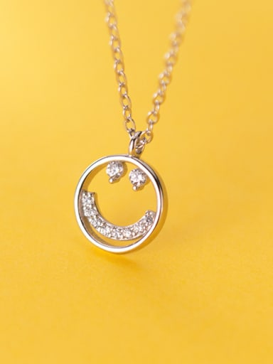 925 Sterling Silver With Platinum Plated Simplistic Face Necklaces