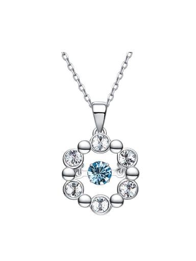 Simple Swarovski Crystals Round Silver Necklace