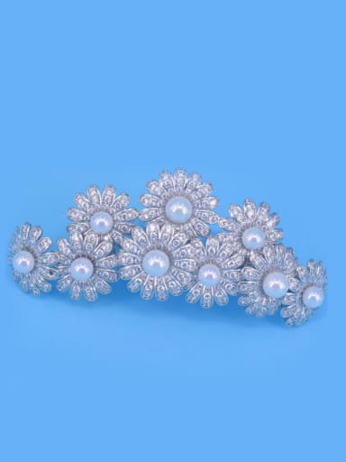 Micro Pave Zircons Artificial Pearls White Color Hair Accessories
