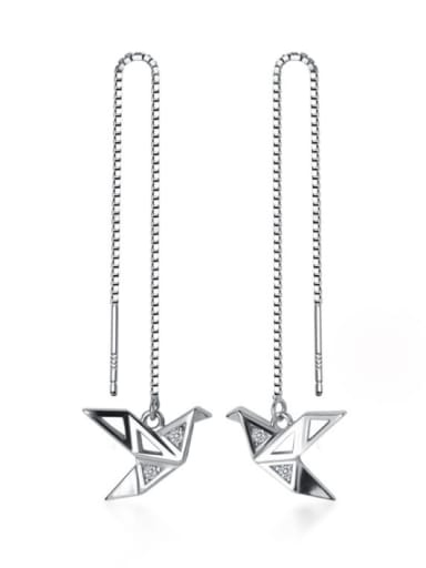 925 Sterling Silver With Platinum Plated Simplistic  Paper Crane Threader Earrings And Necklace