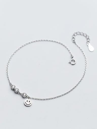 Fresh Smiling Face S925 Silver Rhinestone Bracelet