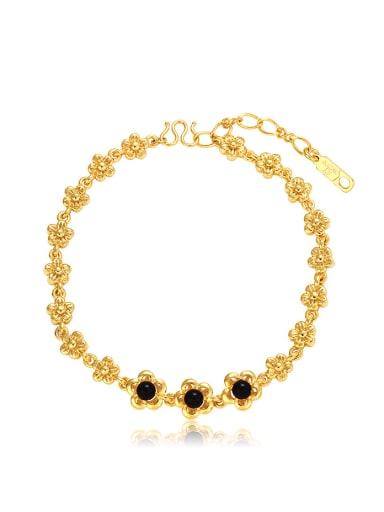 Copper Alloy 24K Gold Plated Fashion Classical Flower Gemstone Bracelet