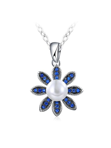 Temperament Flower Shaped Artificial Pearl Necklace