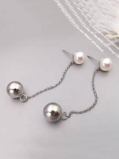 Simple Freshwater Pearl Bead Drop threader earring