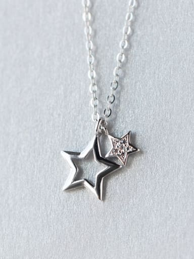 Trendy Star Shaped S925 Silver Rhinestone Necklace