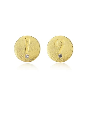 925 Sterling Silver With Gold Plated Simplistic Round Mark  Stud Earrings