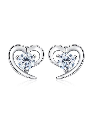 Tiny 925 Silver Heart Cubic Zircon Stud Earrings