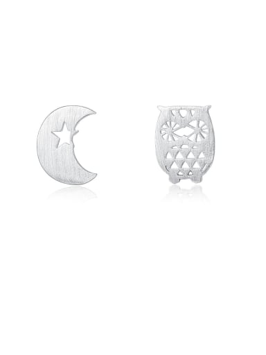 925 Sterling Silver With Smooth  Simplistic Asymmetry  Moon Stud Earrings