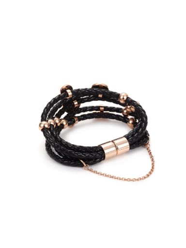 Rose Gold Stainless Steel Leather Cord Bracelet