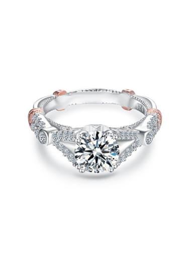 Luxury 925 Silver Double Color Design Zircon Ring