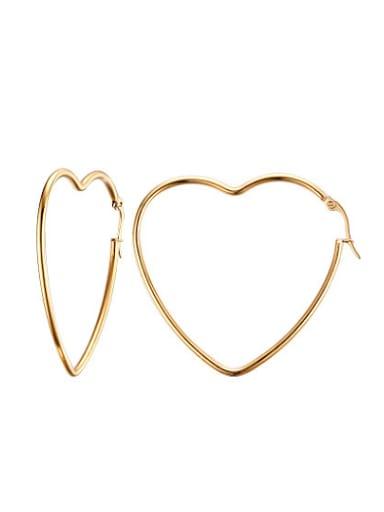Elegant Gold Plated High Polished Heart Shaped Drop Earrings