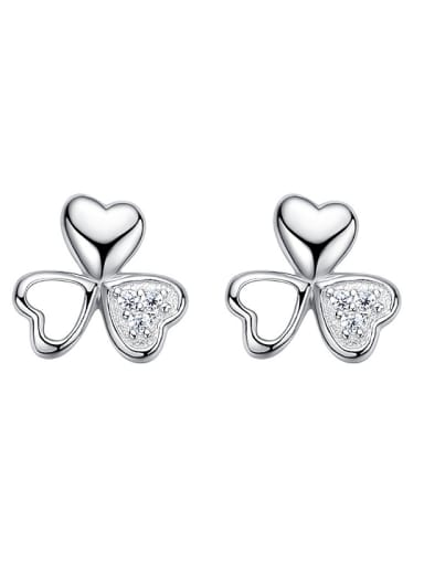 Tiny Little Heart Shiny Zirconias 925 Silver Stud Earrings