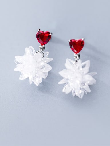 925 Sterling Silver With Platinum Plated Fashion heart Flower Drop Earrings