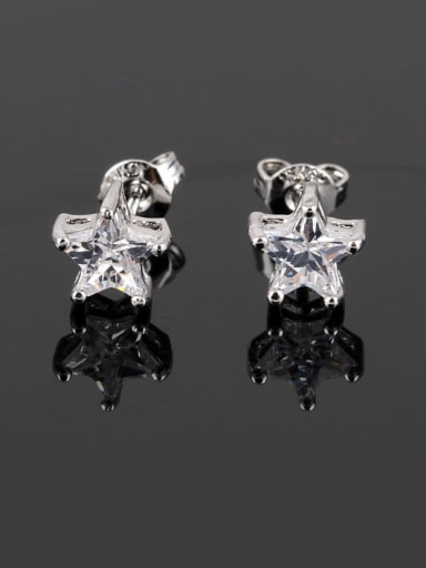 Five Pointed Star Zircon Nickel Free Thick Platinum Plated Ear Studs
