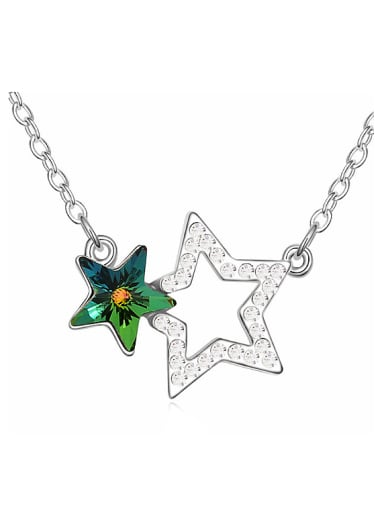Fashion Swarovski Crystals Double Stars Alloy Necklace